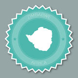 Zimbabwe badge flat design. Round flat style sticker of trendy colors with country map and name. Country badge vector illustration stock images