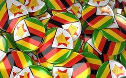 Zimbabwe Badges Background - Pile of zimbabwean Flag Buttons. Royalty Free Stock Photography