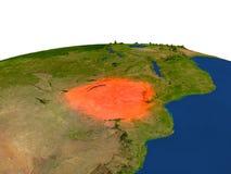 Zimbabwe en rojo de la órbita stock de ilustración