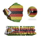 Zimbabwe Symbols. Zimbabwe flag and map in different styles in different textures Stock Image