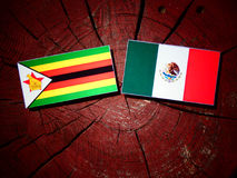Zimbabwe flag with Mexican flag on a tree stump isolated Royalty Free Stock Image