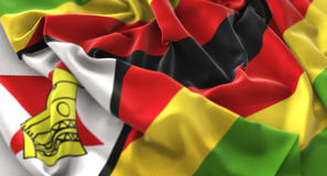 Zimbabwe Flag Ruffled Beautifully Waving Macro Close-Up Shot. Studio Royalty Free Stock Image