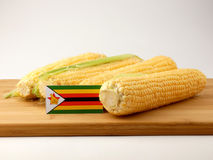 Zimbabwe flag on a wooden panel with corn isolated on a white ba Royalty Free Stock Photo
