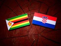 Zimbabwe flagga med den kroatiska flaggan på en isolerad trädstubbe Arkivfoton