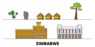 Zimbabwe flat landmarks vector illustration. Zimbabwe line city with famous travel sights, skyline, design. Zimbabwe flat landmarks vector illustration royalty free illustration