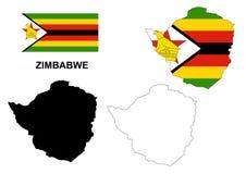 Zimbabwe map vector, Zimbabwe flag vector, Zimbabwe isolated white background Royalty Free Stock Image