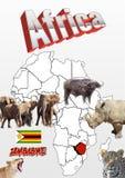 Zimbabwe mapa z flaga i zwierzętami Zdjęcie Stock