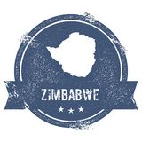 Zimbabwe mark. Travel rubber stamp with the name and map of Zimbabwe, vector illustration. Can be used as insignia, logotype, label, sticker or badge of the Stock Images