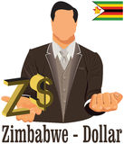 Zimbabwe national currency symbol  dollar representing money and Flag. Vector design concept of businessman in suit with his open hand over with currency Royalty Free Stock Photos
