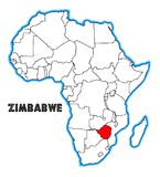 Zimbabwe Africa Map. Zimbabwe outline inset into a map of Africa over a white background Stock Photos