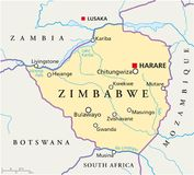 Zimbabwe Political Map. Political map of Zimbabwe with capital Harare, with national borders, most important cities, rivers and lakes. Illustration with English Royalty Free Stock Images