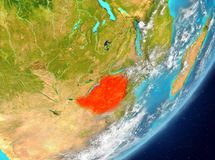 Zimbabwe from space. Satellite view of Zimbabwe highlighted in red on planet Earth with clouds. 3D illustration. Elements of this image furnished by NASA Stock Image