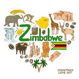 Zimbabwe symbols in heart shape concept Stock Photos
