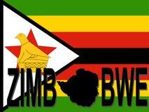 Zimbabwe text with map. On flag illustration Stock Images