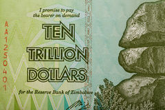 Zimbabwe tjugo miljard dollar sedel Arkivfoto