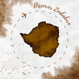Zimbabwe watercolor map in sepia colors. Royalty Free Stock Photography