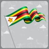 Zimbabwe wavy flag. Vector illustration. Royalty Free Stock Photography