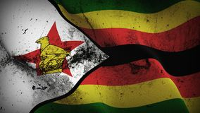 Zimbabwe grunge dirty flag waving on wind. Zimbabwean background fullscreen grease flag blowing on wind. Realistic filth fabric texture on windy day Stock Images