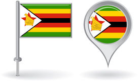 Zimbabwean pin icon and map pointer flag. Vector Royalty Free Stock Photos