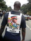 Zimbabwean with potrait of  General Chiwenga. Harare,Zimbabwe,18 November 2017. A man  with  the  potrait  of  General Chiwenga  celebrating Mugabe`s ouster Stock Photos