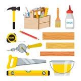 Zimmerei und Holzarbeit-Werkzeug-Satz-Vektor Reparatur und Gebäude-Zubehör Brett, Hammer, Werkzeugkasten, Bürste, Kleber, Bleisti stock abbildung