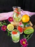 Zimna detox woda z organicznie owoc i jagodami Fotografia Royalty Free
