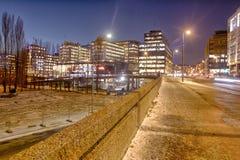 Zimna noc przy akerbrygge Oslo Zdjęcie Stock