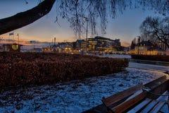 Zimna noc przy akerbrygge Oslo Obrazy Stock