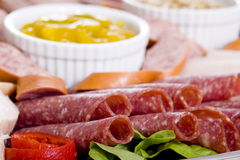 zimne mięso gastronomicznych platter Fotografia Royalty Free