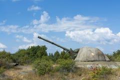 Zimnej wojny nabrzeżna artyleria Landsort Zdjęcia Royalty Free