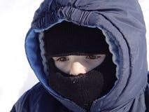 zimno mały chłopiec Obrazy Royalty Free