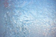 Zimno mrozu wzory na szkle zdjęcia royalty free