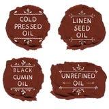 ` zimno - naciskający nafcianego ` nasieniodajnego oleju ` ` czerni kminu oleju ` bieliźnianego ` unrefined nafciany ` Ręka rysuj ilustracja wektor
