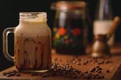 Zimno warzący kawowy frappe zdjęcie royalty free