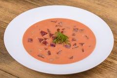 Zimny borscht - specjalność dla gorących letnich dni Jarzynowa zimna polewka z burakiem, ogórkiem, grulą, radsih i jajkiem, z bli Obraz Stock