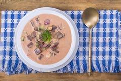Zimny borscht - specjalność dla gorących letnich dni Jarzynowa zimna polewka z burakiem, ogórkiem, grulą, radsih i jajkiem, z bli Zdjęcia Stock