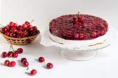 Zimny cheesecake z wiśni galaretą na białym tle zdjęcie stock