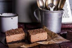 Zimny czekoladowy cheesecake zdjęcia royalty free