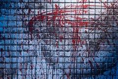 Zimny i ciemny tło od sceny morderstwo Brudna marmur płytka zamazywał pluśnięciami czerwona krew obrazy stock