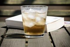 Zimny napój z kostkami lodu na drewnianym stole fotografia royalty free