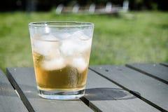 Zimny napój z kostkami lodu na drewnianym stole obraz royalty free