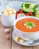 Zimny pomidorowy zupny gazpacho w pucharze Obrazy Royalty Free