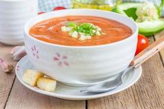 Zimny pomidorowy zupny gazpacho w pucharze Fotografia Royalty Free