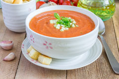 Zimny pomidorowy zupny gazpacho w pucharze z croutons Obrazy Royalty Free