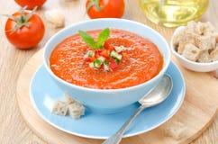 Zimny pomidorowy zupny gazpacho z basilem i croutons w pucharze Obrazy Royalty Free
