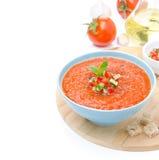 Zimny pomidorowy zupny gazpacho z croutons Zdjęcie Royalty Free