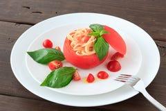 Zimny spaghetti tomatosauce obrazy royalty free