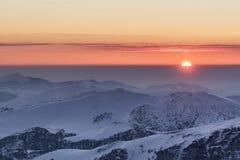 zimny zachód słońca Zdjęcia Royalty Free