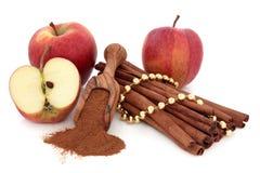 Zimt-Gewürz und Äpfel lizenzfreies stockbild