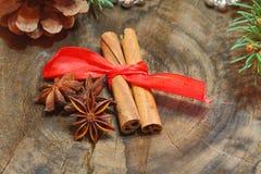 Zimtstangen, Sternanis, Nüsse, Weihnachtsdekoration stockfoto